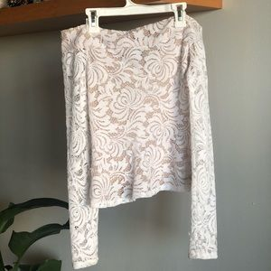 BCBG off shoulder top in white and beige lace